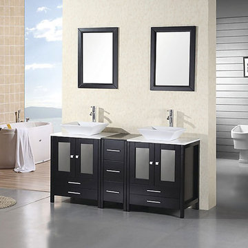 Design Element Arlington 61 Inch Double Sink Vanity Set With Mirror