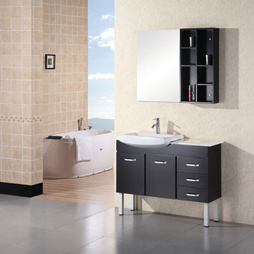 Design Element Belini 46 Inch Single Sink Vanity Set With Mirror And Shelves