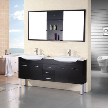 Design Element Belini 72 Inch Double Sink Vanity Set With Mirror And Shelves