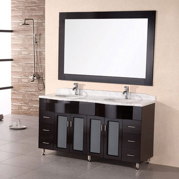 Design Element Bello 61 Inch Double Sink Vanity Set With Mirror