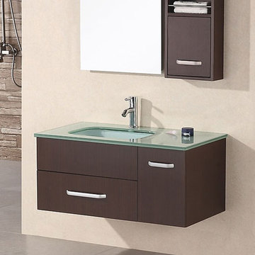 Design Element Christine 35 Inch Wall Mount Single Sink Vanity Set With Mirror And Cabinet
