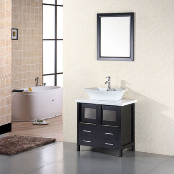 Design Element Elite 30 Inch Single Vessel Sink Vanity Set With Mirror
