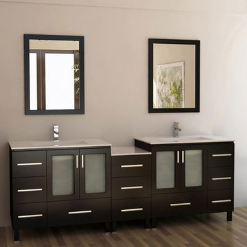 Design Element Galatian 88 Inch Double Sink Vanity Set With Mirrors