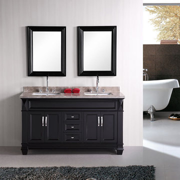 Design Element Hudson 60 Inch Double Sink Vanity Set With Mirrors