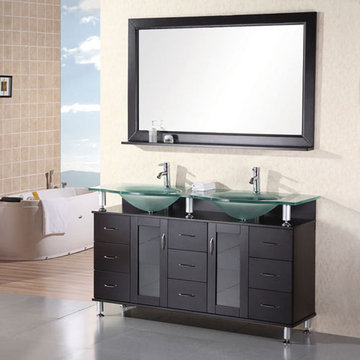 Design Element Huntington 61 Inch Espresso Finish Double Sink Vanity Set With Mirror And Shelf
