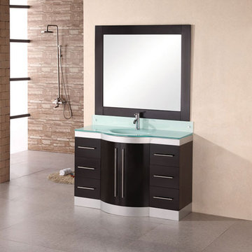 Design Element Jade 48 Inch Single Drop In Sink Vanity Set With Glass Top And Mirror