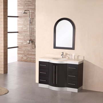 Design Element Jade 48 Inch Single Undermount Sink Vanity Set With Travertine Top And Mirror