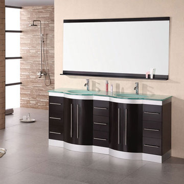 Design Element Jade 72 Inch Double Sink Vanity Set With Tempered Glass Top And Mirror