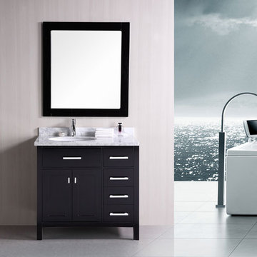 Design Element London 36 Inch Single Sink Vanity With Doors And Mirror