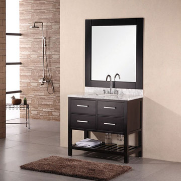 Design Element London 36 Inch Single Sink Vanity Set With Mirror