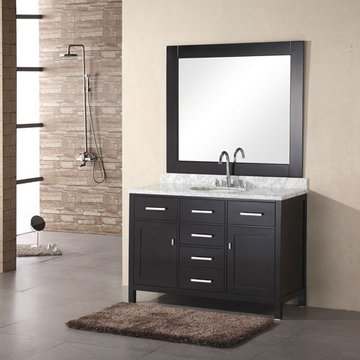 Design Element London 48 Inch Single Sink Vanity Set In Espresso Finish With Mirror