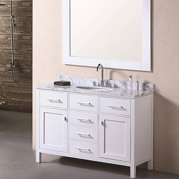 Design Element London 48 Inch Single Sink Vanity Set In Pearl White Finish With Mirror