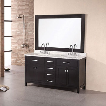 Design Element London 61 Inch Double Sink Vanity Set In Espresso Finish With Mirror