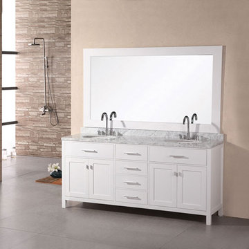 Design Element London 61 Inch Double Sink Vanity Set In Pearl White Finish With Mirror
