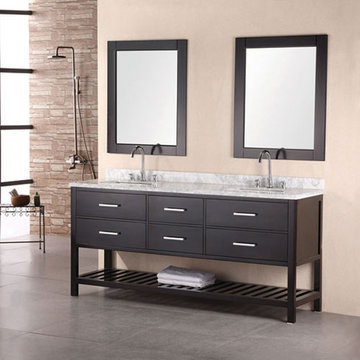 Design Element London 72 Inch Double Sink Bathroom Vanity Set In Espresso Finish With Mirrors