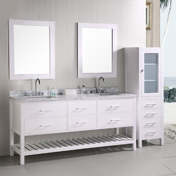 Design Element London 72 Inch Double Sink Bathroom Vanity Set In Pearl White Finish With Mirrors