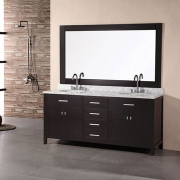 Design Element London 72 Inch Double Sink Vanity Set In Espresso Finish With Mirror