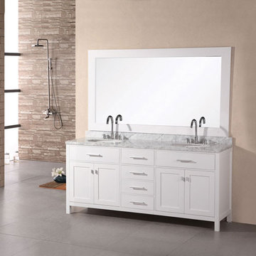 Design Element London 72 Inch Double Sink Vanity Set In Pearl White Finish With Mirror