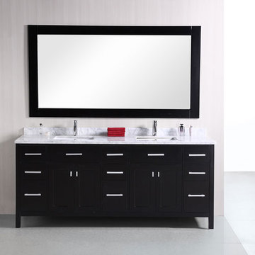 Design Element London 78 Inch Double Sink Vanity Set With Mirror