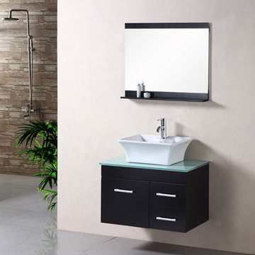 Design Element Madrid 30 Inch Wall Mount Single Vessel Sink Vanity Set With Mirror