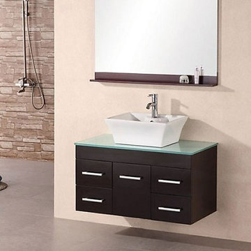 Design Element Madrid 36 Inch Wall Mount Single Vessel Sink Vanity Set With Mirror