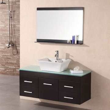 Design Element Madrid 48 Inch Wall Mount Single Vessel Sink Vanity Set With Mirror