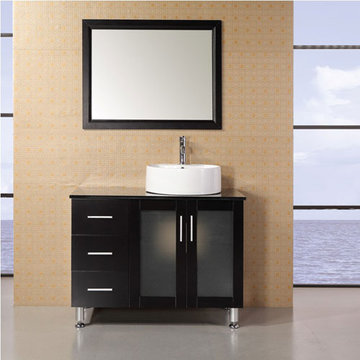Design Element Malibu 39 Inch Espresso Finish Single Sink Vanity Set With Mirror