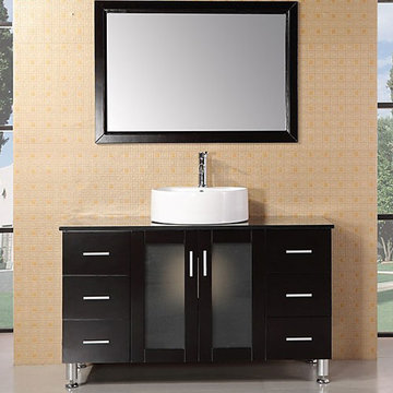 Design Element Malibu 48 Inch Espresso Finish Single Sink Vanity Set With Mirror