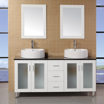 Design Element Malibu 60 Inch Double Sink Vanity Set In White Finish With Mirrors