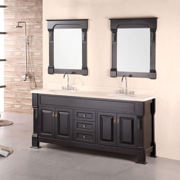 Design Element Marcos 72 Inch Espresso Finish Double Sink Vanity Set With Mirrors