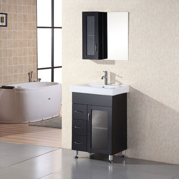 Design Element Milan 24 Inch Single Drop In Sink Vanity Set With Mirror And Cabinet