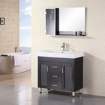 Design Element Milan 36 Inch Single Drop In Sink Vanity Set With Mirror And Cabinet