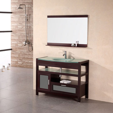 Design Element Milan 43 Inch Single Drop In Sink Vanity Set With Mirror