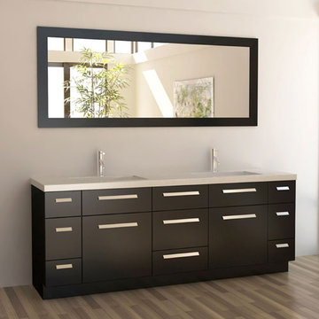 Design Element Moscony 84 Inch Double Sink Vanity Set With Mirror