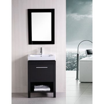 Design Element New York 24 Inch Single Sink Vanity Set With Mirror