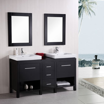 Design Element New York 60 Inch Double Sink Vanity Set With Mirrors