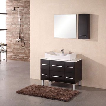 Design Element Paris 36 Inch Single Vessel Sink Vanity Set With Mirror And Cabinet