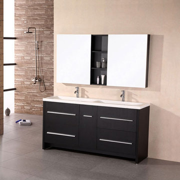 Design Element Perfecta 63 Inch Espresso Finish Double Sink Vanity Set With Mirrored Medicine Cabinets