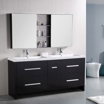 Design Element Perfecta 72 Inch Double Sink Vanity Set With Mirrored Medicine Cabinets