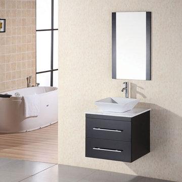 Design Element Portland 24 Inch Wall Mount Single Vessel Sink Vanity Set With Carrara White Marble Top And Mirror