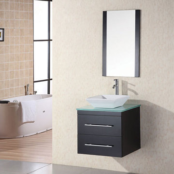 Design Element Portland 24 Inch Wall Mount Single Vessel Sink Vanity Set With Glass Top And Mirror