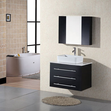 Design Element Portland 30 Inch Wall Mount Single Vessel Sink Vanity Set With Mirror And Cabinets