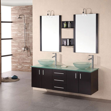 Design Element Portland 61 Inch Double Sink Vanity Set With Glass Vessel Sinks And Mirrors