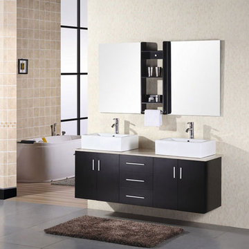 Design Element Portland 61 Inch Double Sink Vanity With Vessel Sinks With Mirrors And Shelves