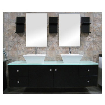 Design Element Portland 61 Inch Espresso Finish Double Sink Vanity Set With Mirrors And Cabinets