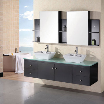 Design Element Portland 72 Inch Espresso Finish Double Sink Vanity Set With Mirrors And Shelves