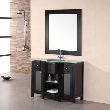 Design Element Rome 43 Inch Single Drop In Sink Vanity Set With Mirror