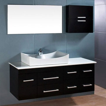 Design Element Springfield 55 Inch Wall Mount Single Vessel Sink Vanity Set With Mirror And Cabinet