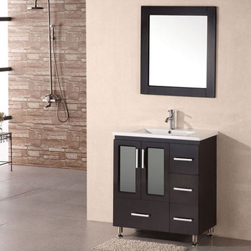 Design Element Stanton 32 Inch Single Drop In Sink Vanity Set With Mirror