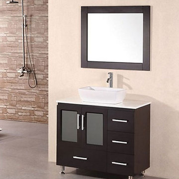 Design Element Stanton 36 Inch Single Vessel Sink Vanity Set With Mirror